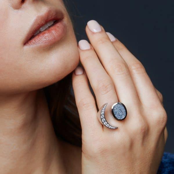Naturdiamanten und Osmium Ring Platin Schmuck